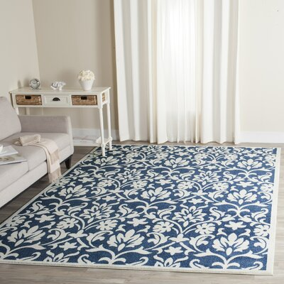 Carman Navy/Ivory Indoor/Outdoor Area Rug Rug Size: Rectangle 9 x 12