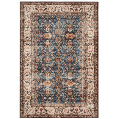Broomhedge Royal/Ivory Area Rug Rug Size: Rectangle 53 x 76