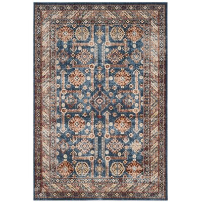 Broomhedge Royal/Ivory Area Rug Rug Size: 53 x 76