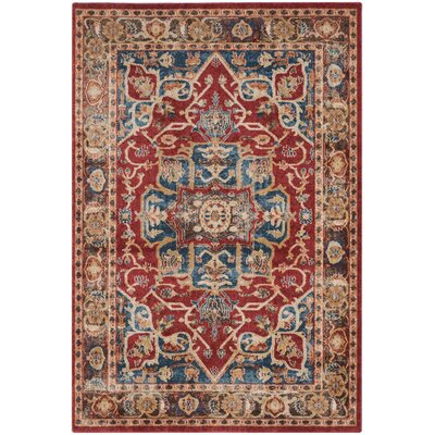Broomhedge Red/Royal Area Rug Rug Size: 53 x 76