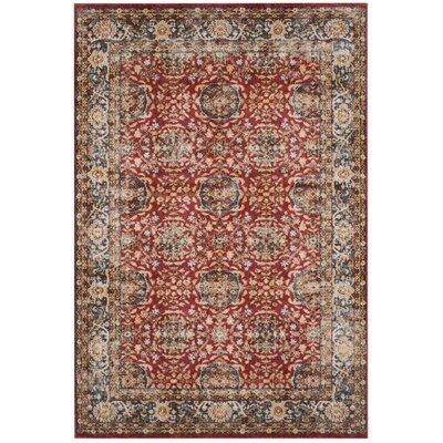 Broomhedge Red/Royal Area Rug Rug Size: 5'3