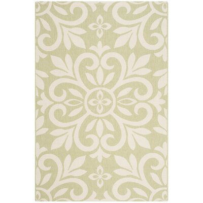 Bloomfield Beach Ivory/Green Area Rug Rug Size: Rectangle 53 x 77