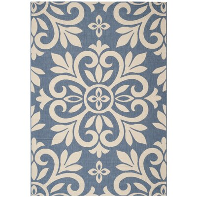 Bloomfield Azurite Beige/Blue Area Rug Rug Size: Rectangle 53 x 77