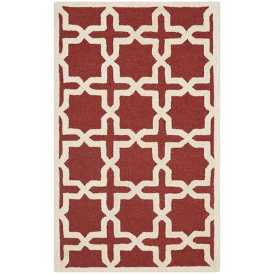 Brunswick Red/Beige Area Rug Rug Size: Square 6
