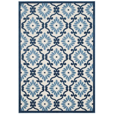 Bryan Ivory/Blue Area Rug Rug Size: Rectangle 53 x 77