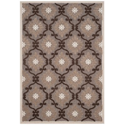 Bryan Light Brown/Brown Area Rug Rug Size: 53 x 77