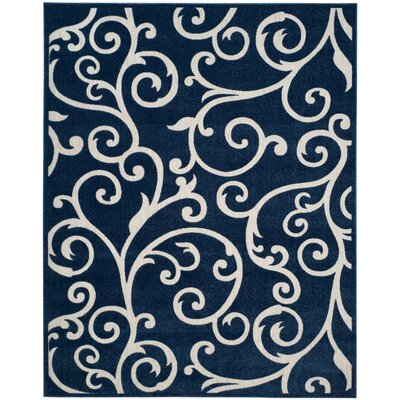 Bryan Navy/Cream Indoor/Outdoor Area Rug Rug Size: 8' x 11'2