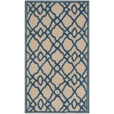 Childers Hand-Hooked Ivory/Blue Indoor/Outdoor Area Rug Rug Size: Rectangle 5 x 7