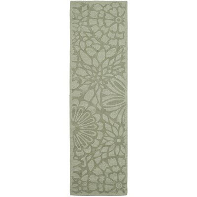 Full Bloom Hand-Loomed Beige/Green Area Rug Rug Size: Runner 23 x 8