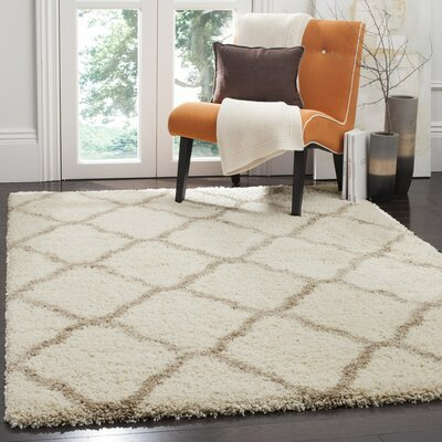 Buford Ivory/Beige Area Rug Rug Size: Rectangle 6 x 9