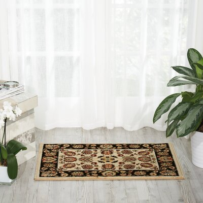 Ravens Ivory/Black Area Rug Rug Size: Rectangle 2 x 3