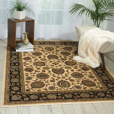 Ravens Ivory/Black Area Rug Rug Size: Rectangle 53 x 73