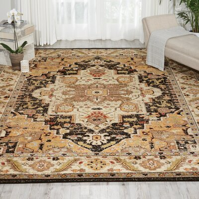 Ravens Black/Ivory Area Rug Rug Size: Rectangle 67 x 96
