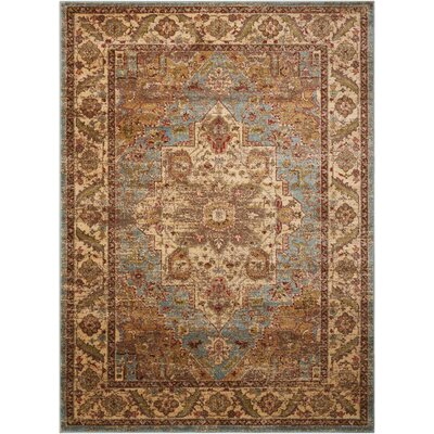 Ravens Blue/Ivory Area Rug Rug Size: Rectangle 53 x 73