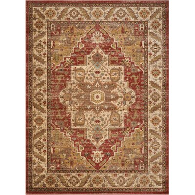Ravens Brick/Ivory Area Rug Rug Size: Rectangle 710 x 1010
