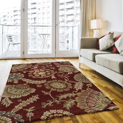 Ophelia Hand-Hooked Red Area Rug Rug Size: Rectangle 8 x 10