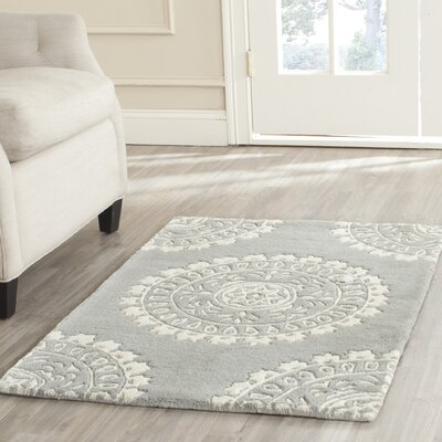 Goldwell Hand-Woven Wool Gray Area Rug Rug Size: Runner 23 x 11