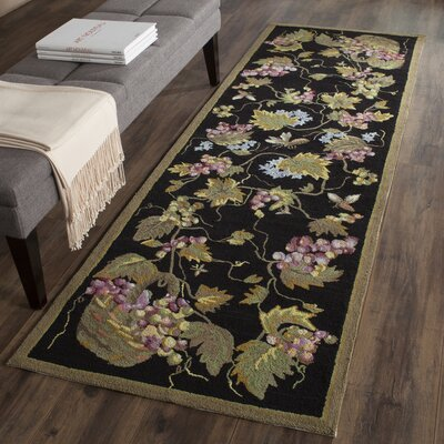 Olson Hand-Hooked Black Area Rug Rug Size: 4 x 6