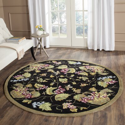 Olson Hand-Hooked Black Area Rug Rug Size: Round 6 x 6