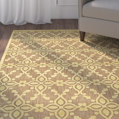 Collinson Tan/Yellow Indoor/Outdoor Area Rug Rug Size: Rectangle 76 x 106