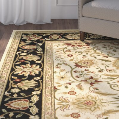 Ottis Ivory/Black Area Rug Rug Size: Rectangle 53 x 76