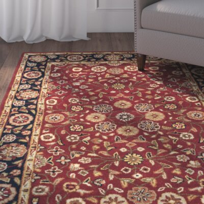 Cranmore Red/Black Floral Area Rug Rug Size: Square 8