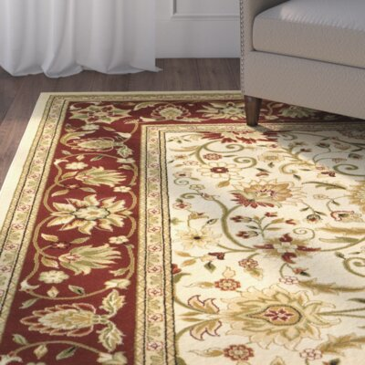 Ottis Ivory/Red Area Rug Rug Size: Rectangle 4 x 6