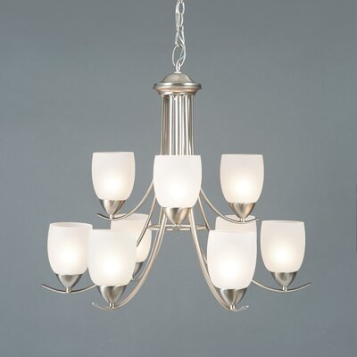 Monrovia 9-Light Shaded Chandelier Finish: Brushed Nickel