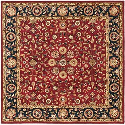Cranmore Red/Black Floral Area Rug Rug Size: Square 6