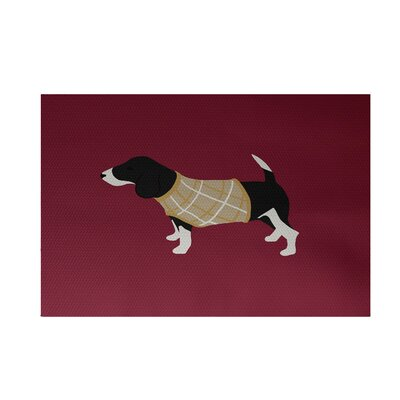 Argyle Decorative Holiday Print Cranberry Burgundy Indoor/Outdoor Area Rug Rug Size: 4 x 6