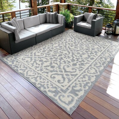 Ashton Gray/Beige Indoor/Outdoor Area Rug Rug Size: 77 x 1010