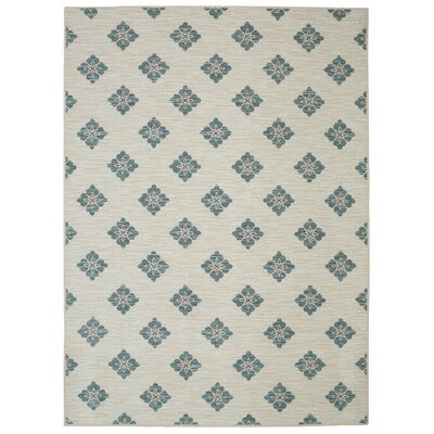 Balcones Button Fleur Aqua/Grey Area Rug