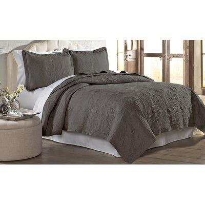 Mackay Quilt Set Size: Full/ Queen, Color: Charcol