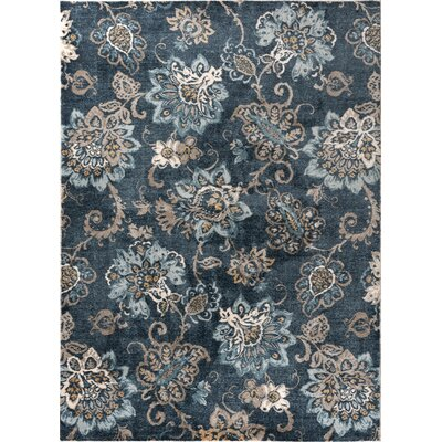 Russell Navy Blue/Brown Area Rug Rug Size: 53 x 73