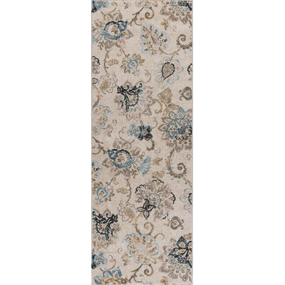 Russell Cream/Blue Area Rug Rug Size: Runner 27 x 73