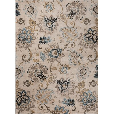 Russell Cream/Blue Area Rug Rug Size: 53 x 73