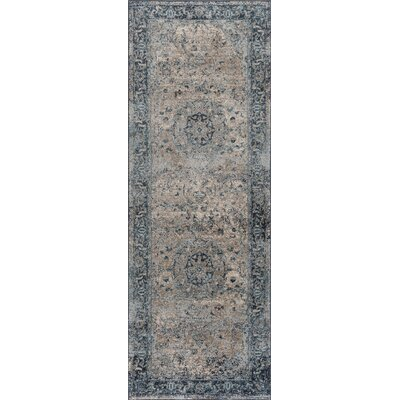 Russell Light Blue/Brown Area Rug Rug Size: Runner 27 x 73