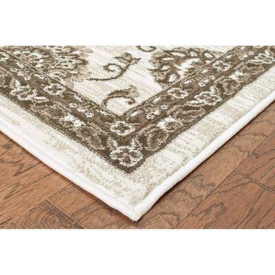 Behrens White/Brown Area Rug Rug Size: Round 91