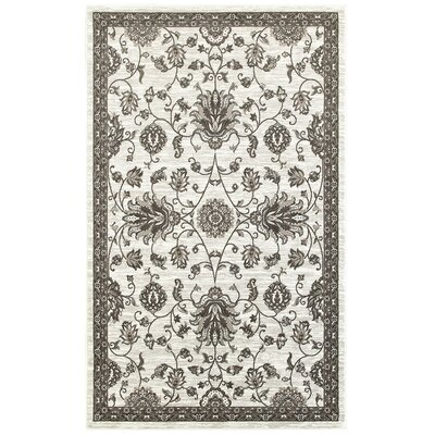 Emerson White/Brown Area Rug Rug Size: 51 x 75
