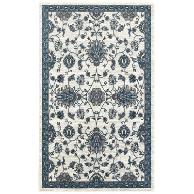Emerson White/Blue Area Rug Rug Size: 51 x 75