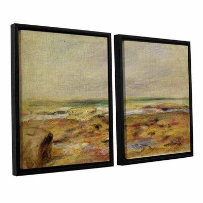 "'The Beach At Martigues, 1888' by Pierre-Auguste Renoir 2 Piece Framed Painting Print Set Size: 36"" H x 24"" W x 2"" D CHLH8341 34129047"