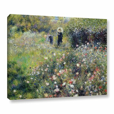 'Woman With A Parasol In A Garden, 1875' by Pierre-Auguste Renoir Painting Print on Wrapped Canvas