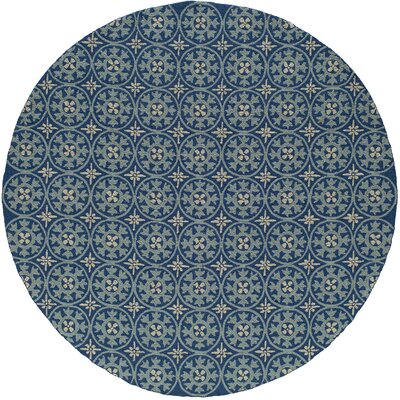Oliver Hand-Hooked Blue Indoor/Outdoor Area Rug