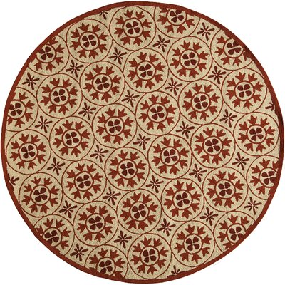 Oliver Hand-Hooked Red/Tan Indoor/Outdoor Area Rug Rug Size: Round 9