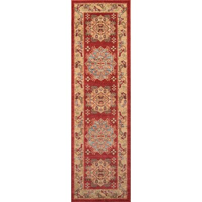 Miller�Red Area Rug Rug Size: Runner 23 x 76