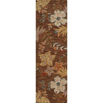Ophelia Hand-Hooked Brown Area Rug Rug Size: Runner 23 x 76