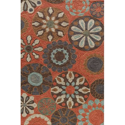 Ophelia Hand-Hooked Terracotta Area Rug Rug Size: Rectangle 5 x 76