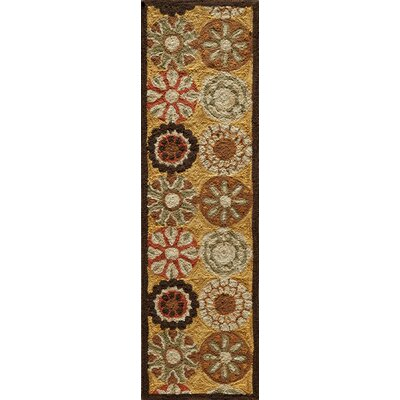Ophelia Hand-Hooked Gold Area Rug Rug Size: Runner 23 x 76