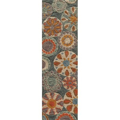 Ophelia Hand-Hooked Blue Area Rug Rug Size: Rectangle 36 x 56