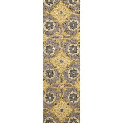 Ophelia Hand-Hooked Yellow Area Rug Rug Size: Runner 23 x 76